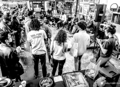 A black and white image of a Soul Food Cypher community members