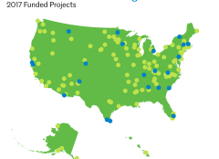 Map of the US with ArtPlace projects marked on the surface