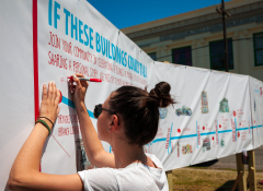 If These Buildings Could Talk, an interactive installation designed by students at YEP Design Works that activated a vacant lot and invited community members to share their stories and memories of Oretha Castle Haley Blvd.
