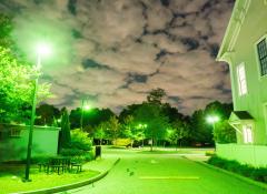 A suburban neighborhood at nigh, illuminated by green light