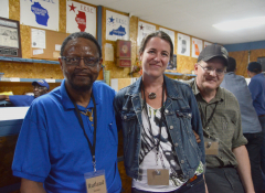 Inside the Eastern Kentucky Social Club: member Rutland Melton with Carrie Brunk and Robert Gipe.