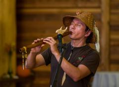 A man playing an instrument