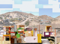 A pixelated image that resembles a painting of a border town
