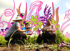 ArtCrop founder, Oskar, and HAFA staff, Yao, interview Soua Thao, Hmong Farmer on her farm lot, to learn about her story over a summer-long residency held at the Hmong American Farmers Association (HAFA) farm. (2017)