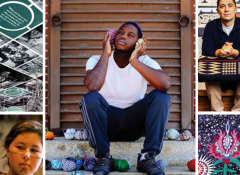A collage of photos that include a young black man sitting on a step.