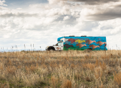 The Rolling Rez Art Mobile traveling down the road.