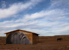 A wooden shack painted with a person's face. Bright blue sky above.