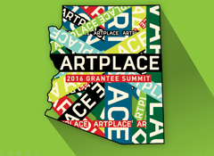 "The outline of the state of Arizona with the words ""ArtPlace"" repeated over it."