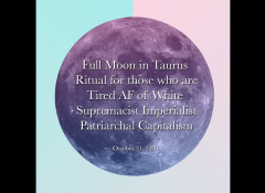 A moon with the words Full Moon in Taurus.