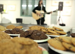 Close-Up of several plates of cookies