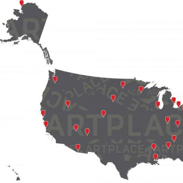 Image of 2015 ArtPlace projects marked on map of USA.