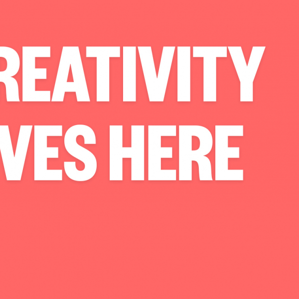 The words Creativity Lives here on a color background