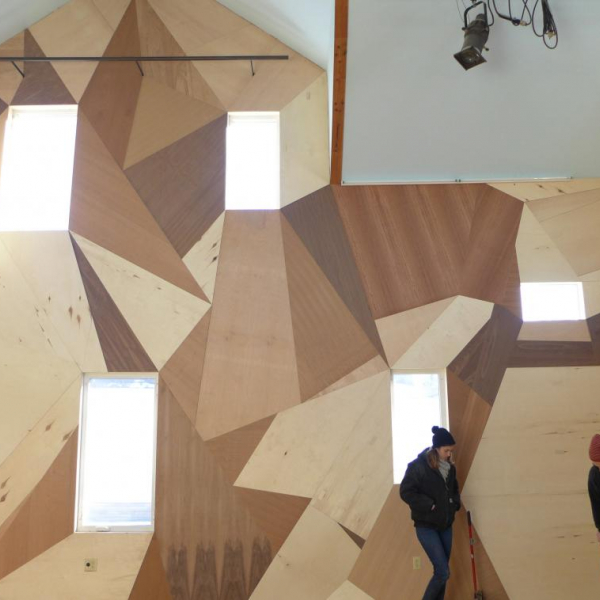 """Finished wall in Power House Productions' """"Play House,"""" designed by Mitch Cope, in Banglatown, Detroit."""