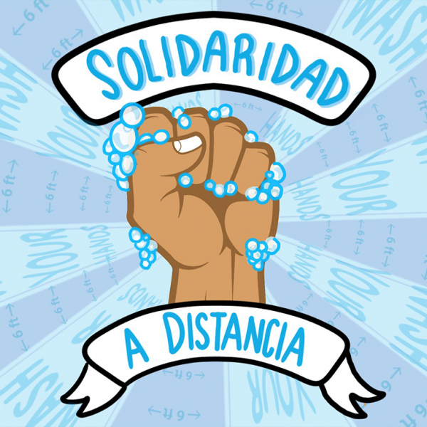 "Image of a fist surrounded by soap bubbles with the words ""Soliradidad"" above it. ""Solidarity"""