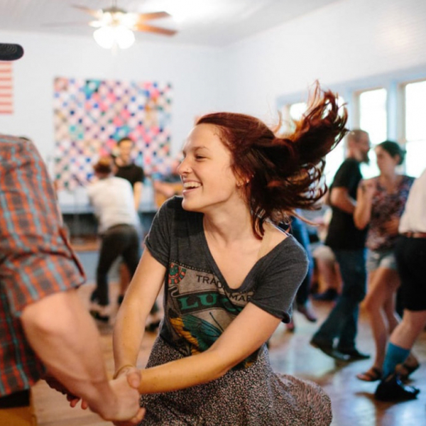 2016 POF Institute participant Emily Saba at a square dance in Carcassonne, KY. Photo Credit: Lafayette College/Clay Wegrzynowicz '18.