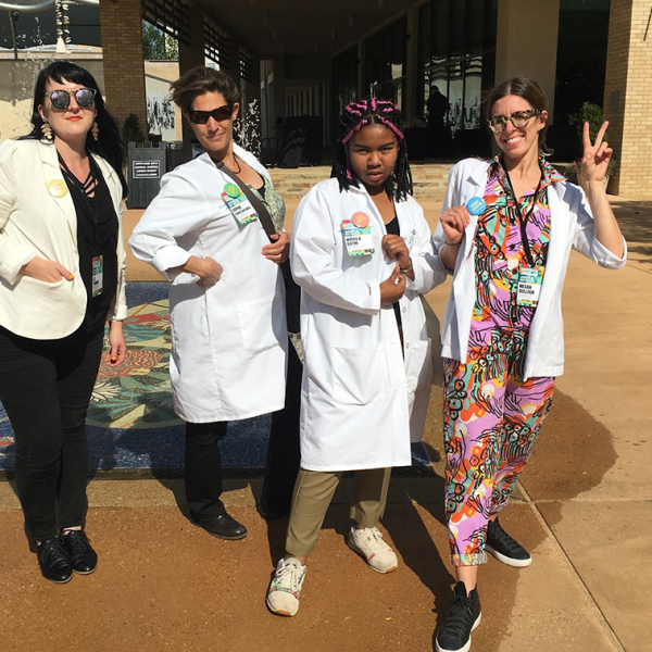 """: The """"Story Doctors"""" Elizabeth Turner, Sophie Constantinou, Widya Batin, and Megan Bullock at the ArtPlace 2019 Annual Summit in Jackson, Mississippi. Photo Credit: Sophie Constantinou"""
