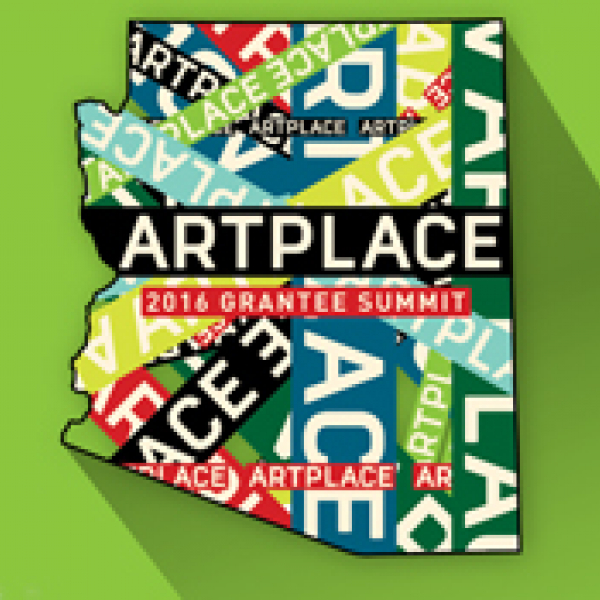 """The outline of the state of Arizona with the words """"ArtPlace"""" repeated over it."""