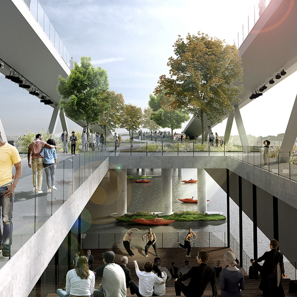 The 11th Street Bridge Park in Washington, D.C., will be an elevated park and cultural space that spans the Anacostia River. Image courtesy of OMA+OLIN