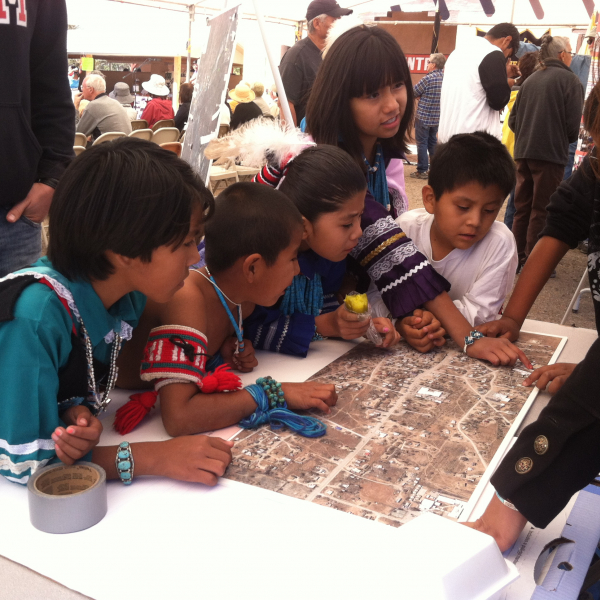 Young dancers at a Zuni Pueblo MainStreet mapping event.